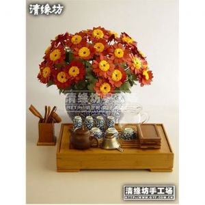 Paper flower making kit, Yellow, red, Buttonray, 10 flowers, (FM6)